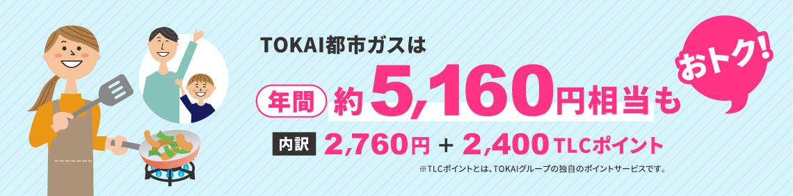 TOKAI都市ガスは、年間約5,160円相当もおトク!